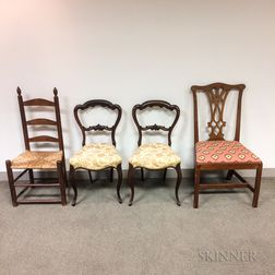 Pair of Rococo Revival Rosewood Side Chairs, a Chippendale Mahogany Side Chair, and a Ladder-back Side Chair.     Estimate $150-250