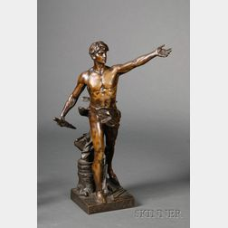 Eugene Marioton (French, 1854-1925)      Bronze Figure of Civic Duty, c. 1900
