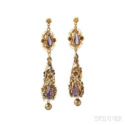 Gold and Amethyst Earrings
