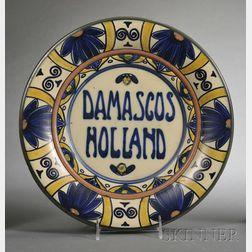 Gouda Matte Glaze Damascus Holland   Pottery Wall Charger