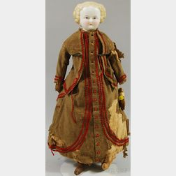 Blonde Parian Shoulder Head Doll