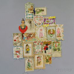Collection of Late 19th to Early 20th Century Valentines and Ephemera