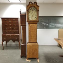 Pennsylvania Curly Maple and Cherry Reproduction Tall Clock