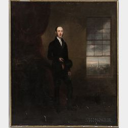 Attributed to Richard Augustus Clack (British, 1804-1881)      Full-length Portrait of a Gentleman Beside a Window