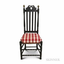 Black-painted Bannister-back Heart and Crown Side Chair