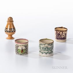 Three Child's Mugs and a Slip-decorated Pepper Pot