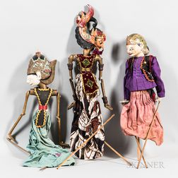 Three Wayang Shadow Puppets