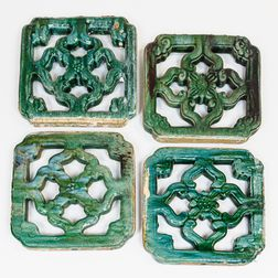 Four Chinese Ceramic Garden Tiles