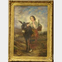 Two Framed Continental 19th/20th Century Figural Works: Portrait of a Woman with a Pack Mule, unsigned, oil on canvas (lined, ret...