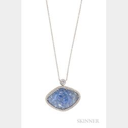 Platinum, Carved Sapphire, and Diamond Pendant