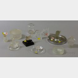 Eleven Small Lalique and Assorted Colorless Art Glass Table Items