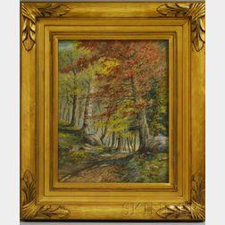 William McGregor Paxton  (American, 1869-1941)      Autumn Landscape, The Woods of Maine