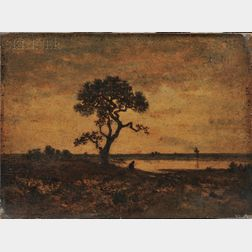 Théodore Rousseau (French, 1812-1867)      Twilight Landscape with Tree and Figure at a Pond