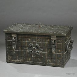 German Polychrome-painted Steel and Iron Strongbox
