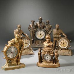 Five Presidential Figural Clocks