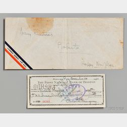 Hemingway, Ernest Miller (1899-1961) Signed Check, 24 December 1954.