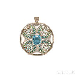 Aquamarine, Opal, and Plique-a-Jour Enamel Pendant/Brooch