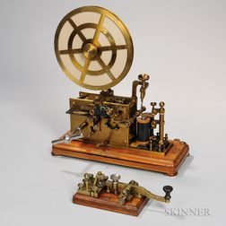 L.M. Ericsson & Co. Clockwork Telegraph Register and Key