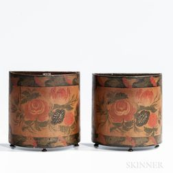 Pair of Paint-decorated Demilune Boxes