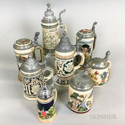 Eight Pictorial Stoneware Steins