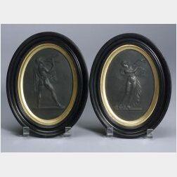 Pair of Wedgwood Black Basalt Oval Plaques