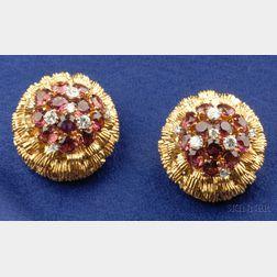18kt Gold, Pink Tourmaline, and Diamond Earclips, Van Cleef & Arpels