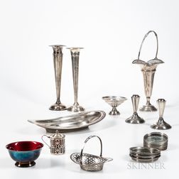 Group of Sterling Silver Tableware and a Silver-plated Enameled Bowl