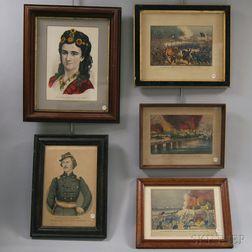 Four Framed Currier & Ives Civil War Lithographs