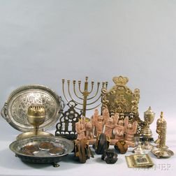 Norblin Silver-plated Hanukkah Lamp and a Group of Judaica