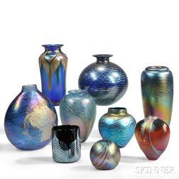 Nine Iridescent Vases