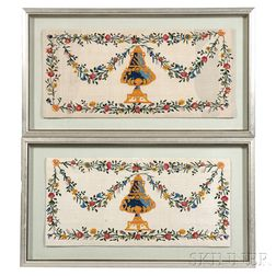 Pair of Framed French Crewel Pillow Shams