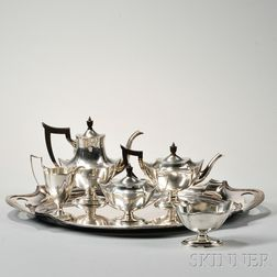 """Five-piece Gorham """"Plymouth"""" Pattern Tea and Coffee Service with Silver-plate Tray"""