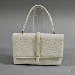 Lucille de Paris Vintage White Ostrich Leather Handbag