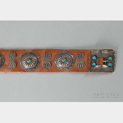 Navajo Girl's Silver and Turquoise Concha Belt