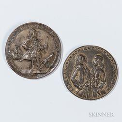 Two Bronze Admiral Vernon Porto Bellow Medals