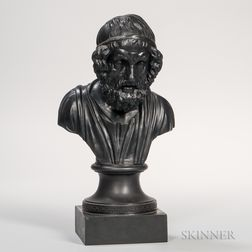 Wedgwood & Bentley Black Basalt Library Bust of Homer
