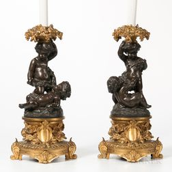 Pair of Bronze and Gilt-bronze Figural Lamps