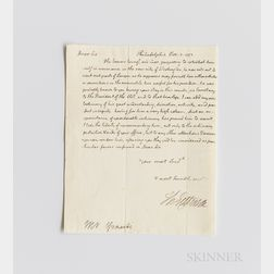 Jefferson, Thomas (1743-1826) Autograph Letter Signed as Secretary of State, Philadelphia, 5 November 1793.