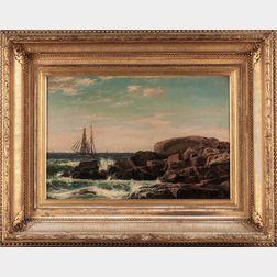 John Erik Christian Petersen (Massachusetts/Denmark, 1839-1874)      Sailing Ship Near a Rocky Shore