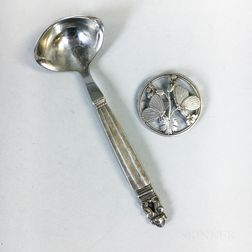 Georg Jensen Sterling Silver Acorn Pattern Sauce Ladle and a Brooch
