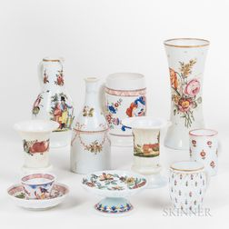 Ten Polychrome Decorated Bristol Glass Items