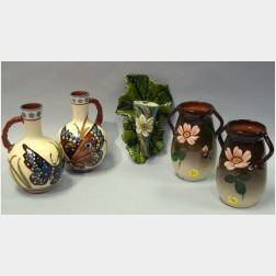Aller Vale Iridescent Glazed Floral Decorated Leaf Wall Pocket and Pairs of Watcombe Floral Vases and Butterfly Decorated Handled Vases