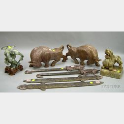 Four Asian Carved Hardstone Figures and Two Pairs of Carved Hardstone Edged Weapons