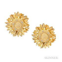18kt Gold and Diamond Sunflower Earclips, Asprey