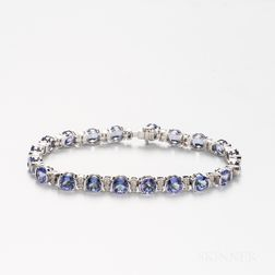 14kt White Gold, Tanzanite, and Diamond Bracelet