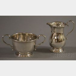 Two-Piece B&M Sterling George II Style Creamer and Open Sugar Bowl