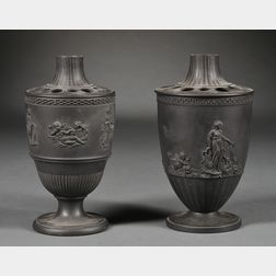 Two Black Basalt Potpourri and Covers