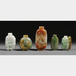 Small Chinese 5 Snuff Bottle Brocade Box