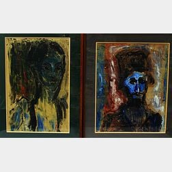Luis Orozco (Mexican/Greek, 20th Century)      Two Portrait Heads.