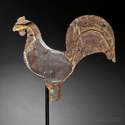 Copper and Sheet Iron Rooster Weathervane